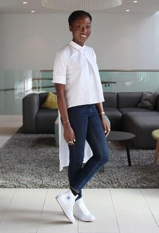 ... Look de moda  Blusa de manga corta blanca 0ed78c44b83