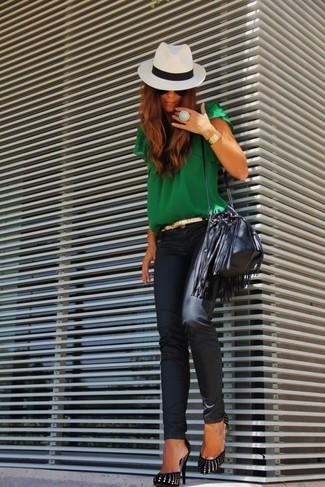 Vaqueros pitillo de cuero negros de AG Jeans