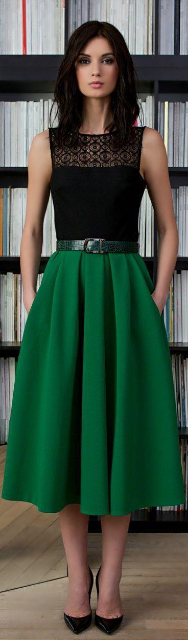 mangas Cómo oscuro crochet combinar blusa zapatos negra verde campana falda de sin wtrpwy6qT