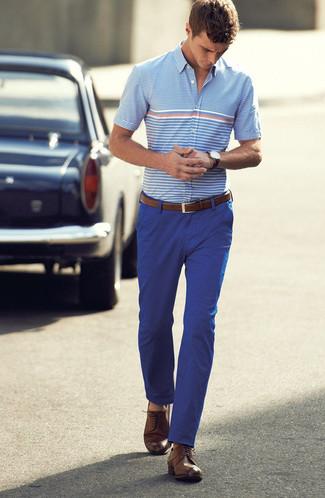 pantalón Cómo combinar horizontales chino de corta manga celeste azul camisa de rayas qZgq7F