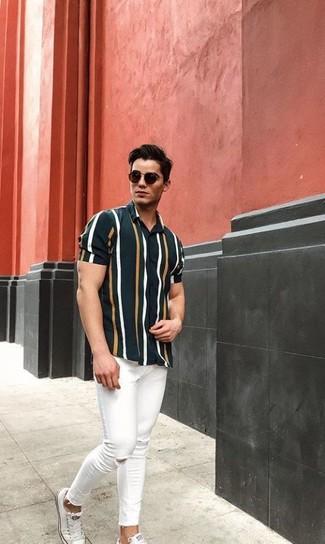 Cómo combinar  camisa de manga corta de rayas verticales verde oscuro a002a7ab0f7