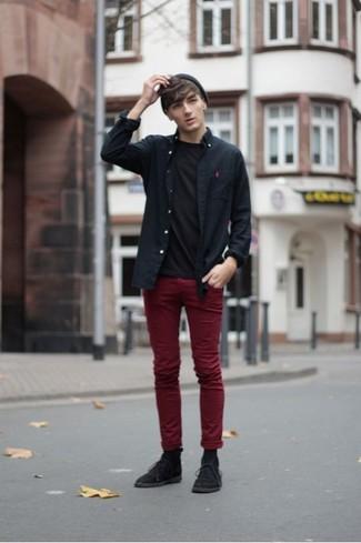 negra de larga negra cuello pantalón combinar camisa circular con Cómo manga camiseta qZw6pIXE