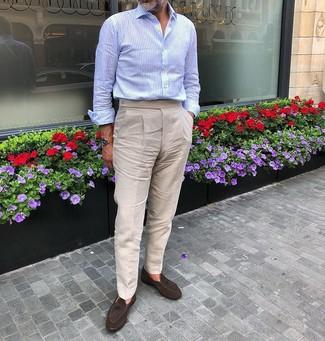 Como Combinar Unos Pantalones De Lino Marron Claro Para Hombres De 50 Anos En Verano 2021 Estilo Elegante 5 Outfits Lookastic Espana