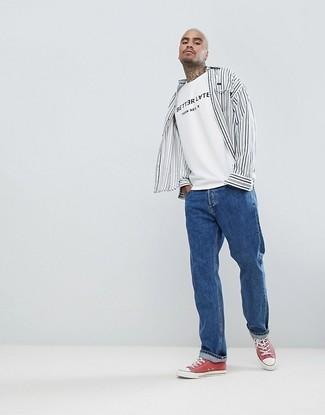 52547c2dcf1 Cómo combinar  camisa de manga larga de rayas verticales en blanco y negro