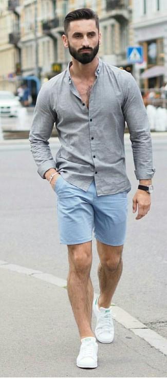 847169395c Cómo combinar unos pantalones cortos celestes (81 looks de moda ...
