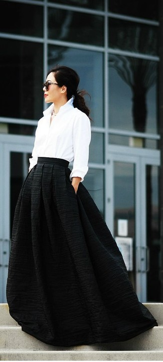70cf9f54a Cómo combinar una falda larga negra (81 looks de moda)