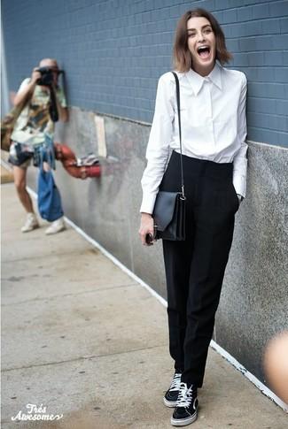 Como Combinar Un Pantalon De Vestir Negro Con Una Camisa De Vestir Blanca En Primavera 2021 Estilo Casual Elegante 8 Outfits Lookastic Espana