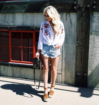 Camisa de vestir bordada blanca de Vero Moda