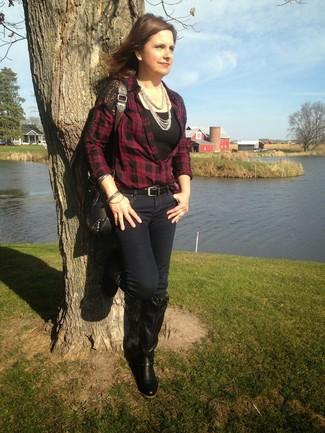 Bolso bandolera de cuero con tachuelas negro de Versace Jeans