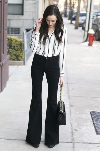 de rayas y vestir vaqueros Cómo verticales de de combinar blanco en camisa negro XwIwp46qRf