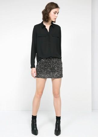 Minifalda de lentejuelas negra de Rock   Religion 26dafb71fa12