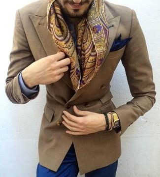 Cómo combinar: camisa de vestir de cuadro vichy azul, pantalón chino azul, zapatos con doble hebilla de cuero marrónes, pañuelo de bolsillo azul marino