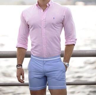 4721ba2bc Cómo combinar unos pantalones cortos celestes (81 looks de moda ...