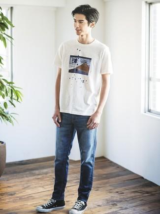 Camiseta con cuello circular estampada blanca de Maison Margiela