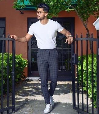 Pantalon Chino A Cuadros En Gris Oscuro De Asos Design 11 Asos Lookastic Espana