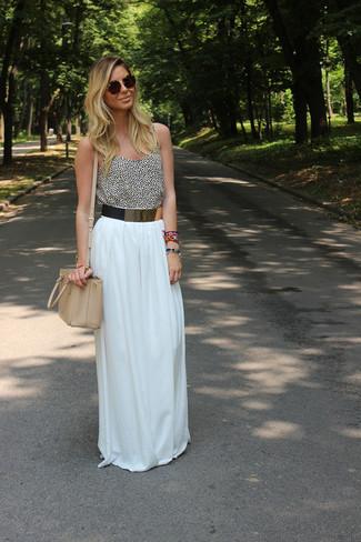 Falda larga plisada blanca de Stella McCartney 9f5bc59749c