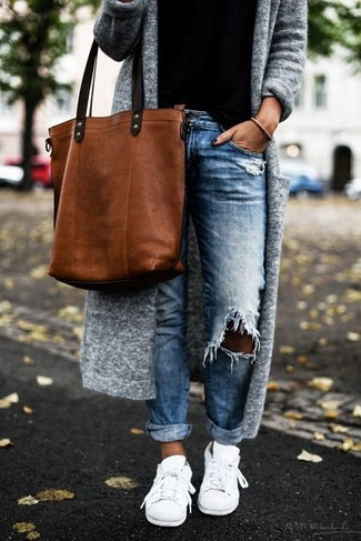 Bolsa tote de cuero en tabaco de Dolce & Gabbana