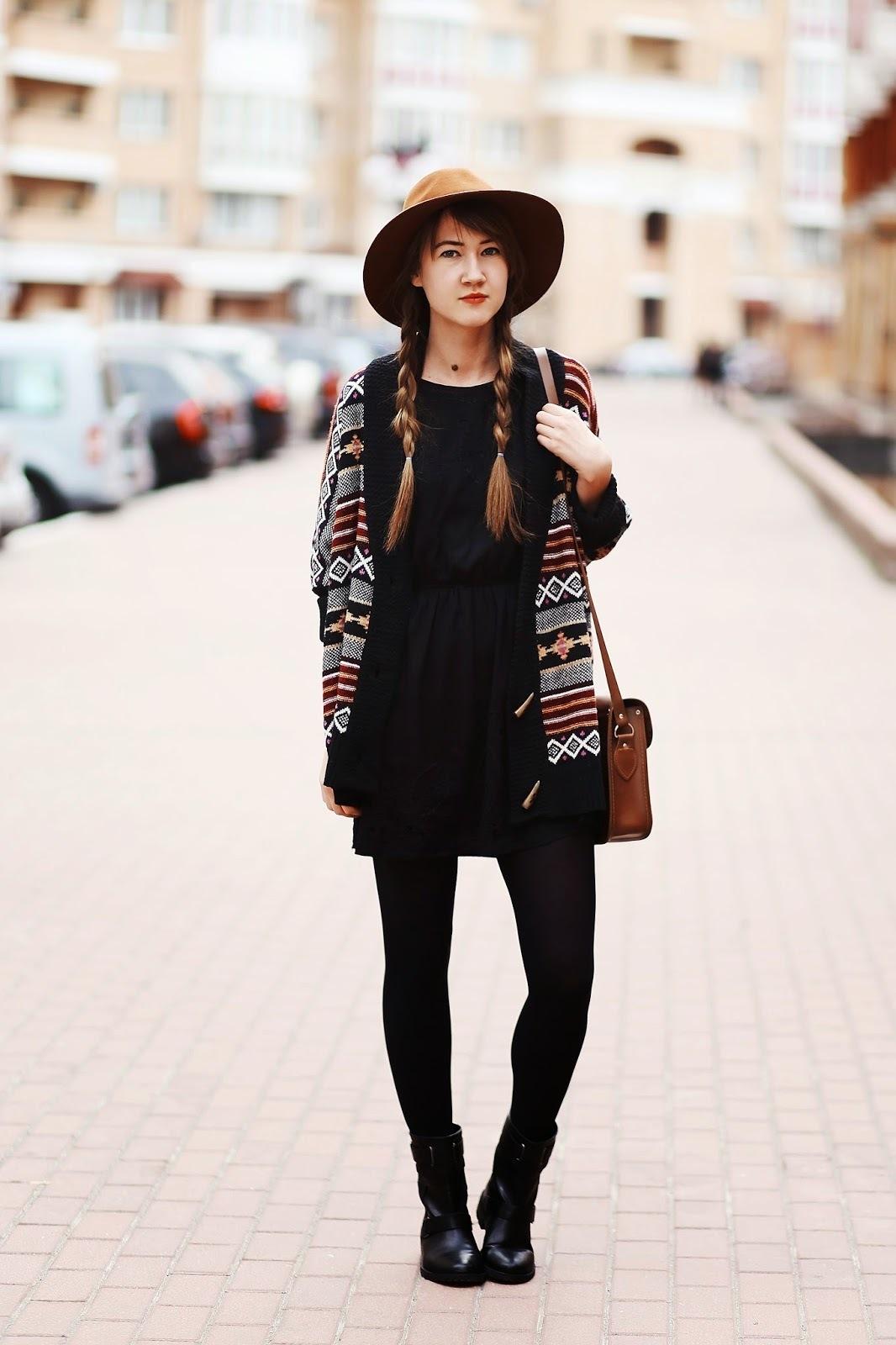 Vestidos casuales con medias negras