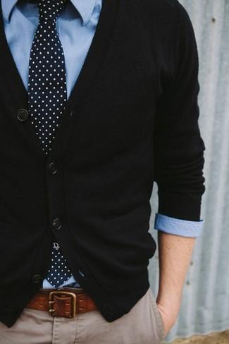 Corbata a lunares en azul marino y blanco de Neil Barrett