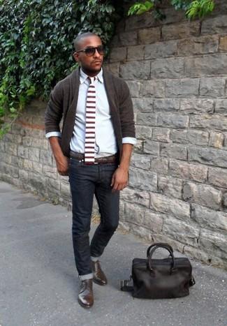Zapatos derby de cuero marrónes de Fabi