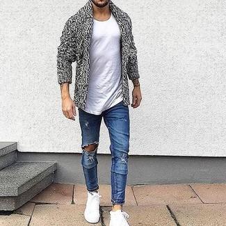 6eaf6f105726d Moda para Hombres › Moda para hombres de 30 años Look de moda  Cárdigan con  cuello chal gris