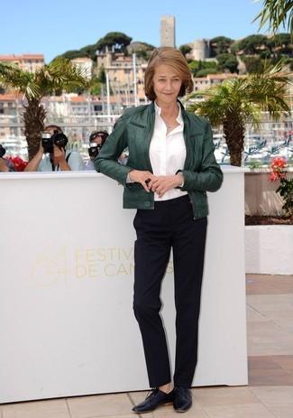 Cazadora de aviador verde oscuro camisa de vestir blanca pantalon de vestir negro zapatos oxford negros large 13311