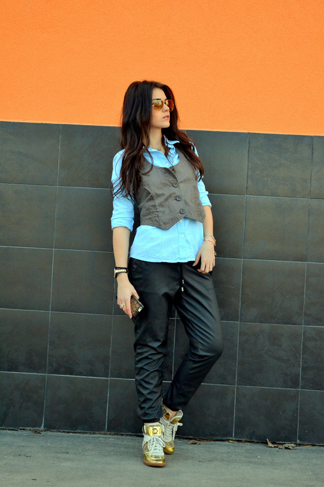 Look De Moda Chaleco De Vestir En Gris Oscuro Brcf3441a