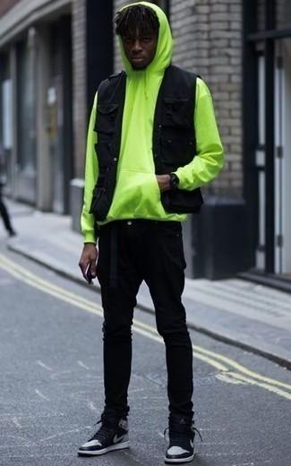 Sudadera con capucha en amarillo verdoso de Joma