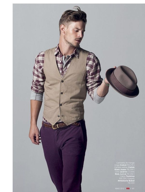 edb7ed8b67f8e de burdeos marrón chaleco larga claro Cómo combinar camisa vestir tartán de  manga de 4Hnwvq7a