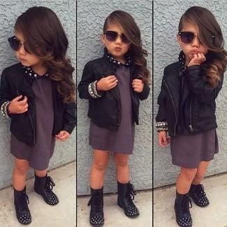 Moda para Niñas Look de moda  Chaqueta de cuero negra 0fdefb3bdc468