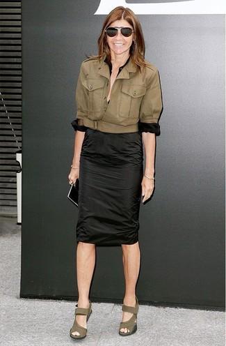 Chaqueta motera blusa de botones falda lapiz large 12327