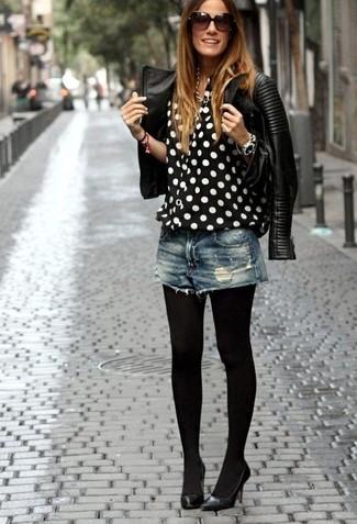 6105631e0 Look de moda: Chaqueta motera de cuero acolchada negra, Blusa de ...