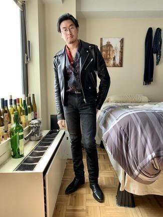Cómo combinar una chaqueta motera de cuero negra: Elige una chaqueta motera de cuero negra y unos vaqueros en gris oscuro para una apariencia fácil de vestir para todos los días. ¿Te sientes ingenioso? Dale el toque final a tu atuendo con botines chelsea de cuero negros.