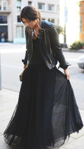 Abrigo para vestido largo negro