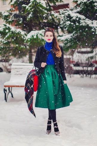 Cómo combinar una falda campana verde (4 looks de moda)  cc615a30494c1