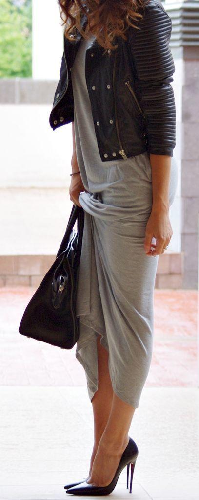 Looks vestido gris largo