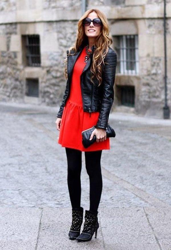 Vestido rojo fiesta con chaqueta