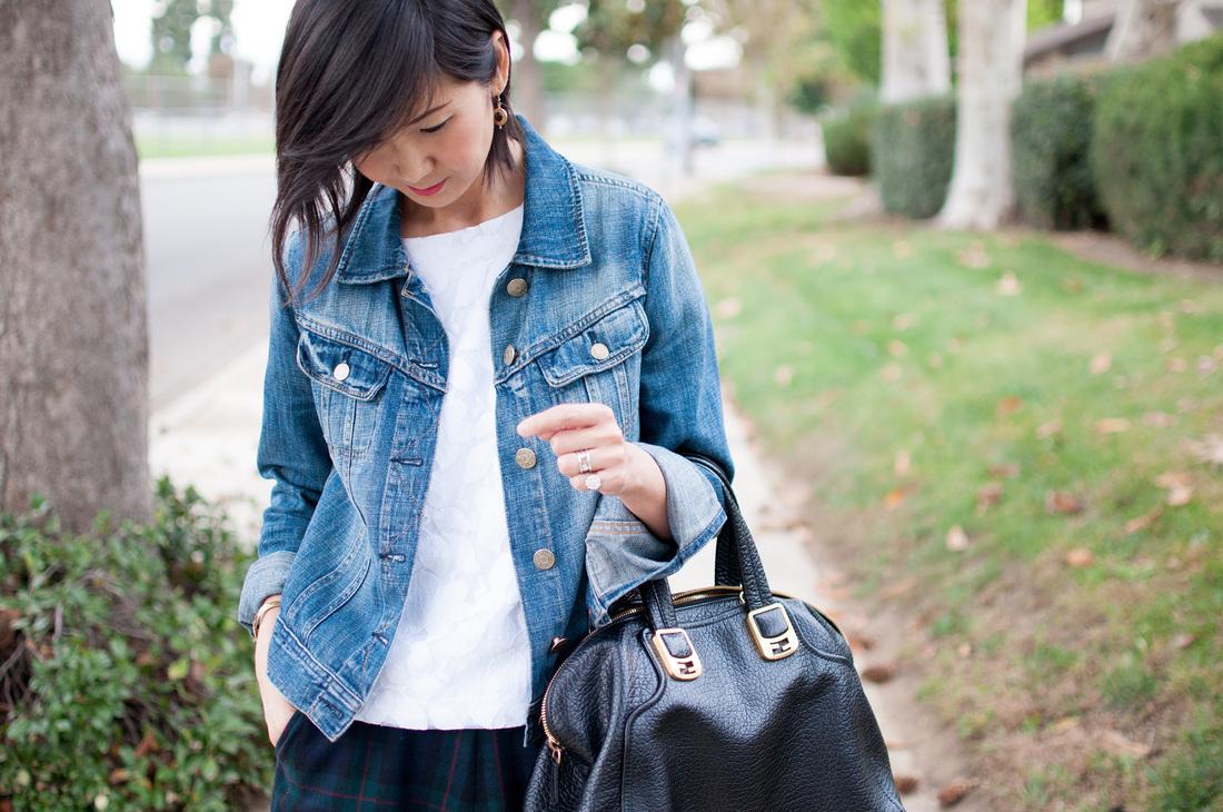 Cuero Negra Mujeres De Tote Falda Larga Bolsa Para Cuello Azul Blanca Marino Moda Chaqueta Look Azul Tartán Camiseta Moda Vaquera Circular Con gn1TqdUBW