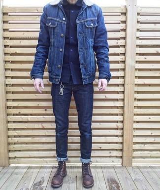 5daae89570 Cómo combinar una camisa de manga larga azul marino (549 looks de ...