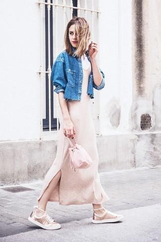 Mochila con cordón de cuero rosada de Marni