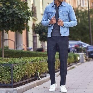 Pantalón chino a cuadros azul marino de Farah Smart