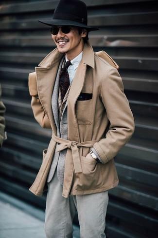 Cómo combinar: chaquetón marrón claro, blazer de lana gris, chaleco de vestir a cuadros marrón, camisa de manga larga blanca
