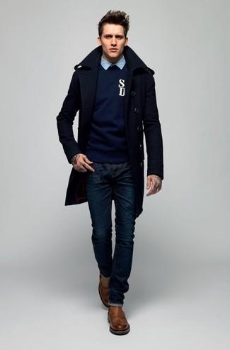 Jersey con cuello circular azul marino de JACK & JONES PREMIUM