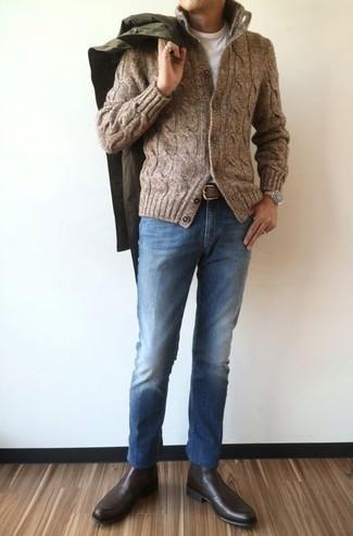 Correa de cuero marrón de AMI Alexandre Mattiussi