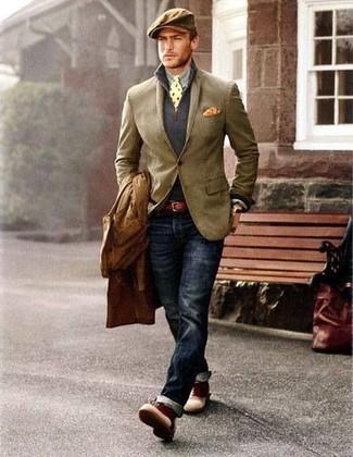Para un atuendo que esté lleno de caracter y personalidad intenta ponerse un jersey de cuello alto con cremallera azul marino de Hackett London y unos vaqueros azul marino. Botas casual de cuero burdeos proporcionarán una estética clásica al conjunto.
