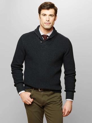 Jersey con cuello chal en gris oscuro de Selected Homme