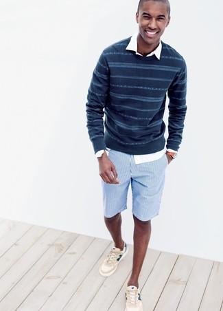 Pantalones cortos de algodón azul marino de Ermenegildo Zegna