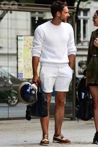 Jersey con cuello circular blanco de Selected Homme
