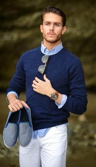 Jersey con cuello circular azul marino de Money