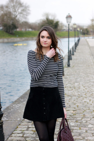 Jersey con cuello circular de rayas horizontales en negro y blanco de RtA